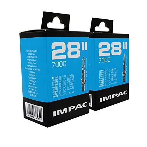"""Impac 2 Stück Rad Schläuche 28 """" / 700c 28-45c (28-47/622-635) Presta Ventil - Doppel Packung"""