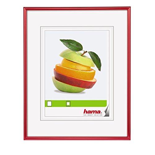 """Hama Bilderrahmen """"Sevilla"""", DIN A4 (21 x 29,7 cm) mit Papier-Passepartout 15 x 20 cm, hochwertiges Glas, Kunststoff Rahmen, zum Aufhängen, rot"""
