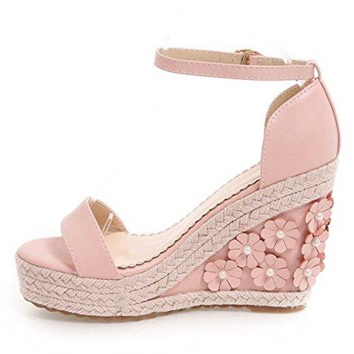 COOLCEPT Damen Mode Knochelriemchen Sandalen Keilabsatz Open Toe Schuhe Mit Blume Gr Rosa
