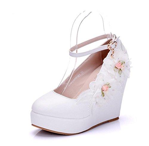 Hochzeit Keile Gericht Schuhe Braut Frau Knöchel Gurt Weiß Kleid Abend Frühling Plattform Damen Pumps Größe 35-43 , White , EUR 39/ UK 6-6.5 (Leder Keile Knöchel Gurt)