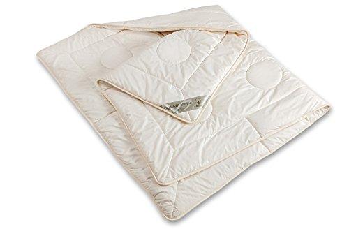 Bettdecke kbt & kba Schurwolle leichte Ganzjahres-Decke Bio Baumwolle Steppbett Bett waschbar Nadia, Größe:155 x 220