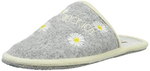 Adelheid Damen Glücklich Blume Filzpantoffel Pantoffeln Grau (Mausgrau)