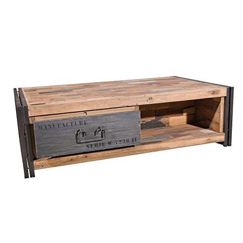 PierImport Table Basse Industrielle Bois recyclé CARAVELLE