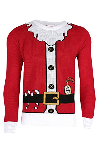 Unisex Herren Damen Weihnachts Pullover Santa Bart Gürtel Kostüm Pullover Sweatshirt - Weihnachtsmann Kostüm Rot, XXL EU (Xxl Santa Kostüme)