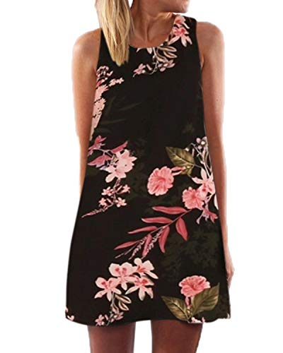 YOINS Sommerkleid Damen Kurz Sexy Kleid Elegant Strandkleid Schulterfrei Blumenmuster Ärmellos Minikleider -ausschnitt A-linie Kurz