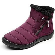 Mujer Botines Invierno Botas de Nieve Forrado de Piel Calientes Tobillo Zapatos Cremallera Casual Zapatillas Negro