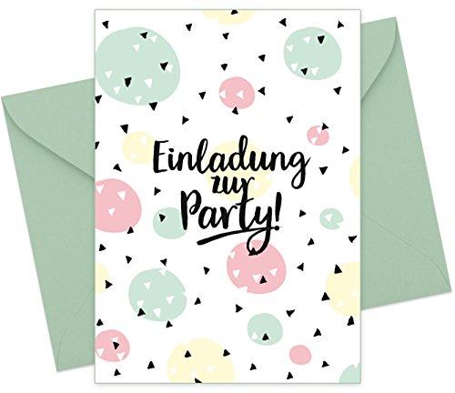 """8er Set (inkl. Umschläge): Einladungskarten """"Konfetti"""" für den Kindergeburtstag oder anderen Anlass – hochwertige Geburtstagseinladungen für Kinder, Mädchen, Teenager"""