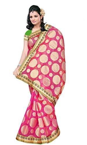 Chirag Sarees Synthetic Saree With Blouse Piece (_Peach_Free Size)