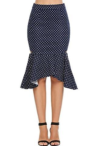 Teamyy Femmes Taille Haute Hanche Package Dot Fishtail Jupe Moulante