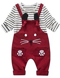 2pcs bebé niño pequeño niños niña rayas de la raya Tops + pantalones ...