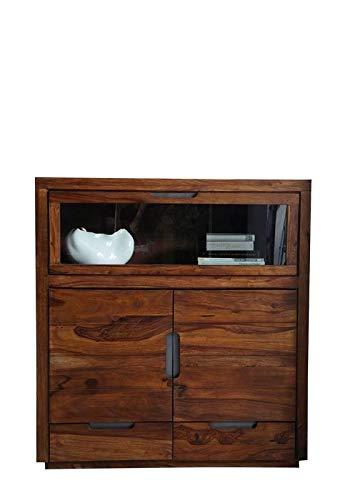 MASSIVMOEBEL24.DE Palisander Holz Möbel massiv lackiert Highboard Sheesham Massivmöbel Holz massiv walnuss Duke #118 -