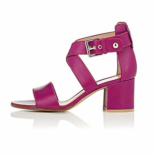 EDEFS Femmes Sandales Bout Ouvert Bloc Hauts Chaussures Boucle Fermeture Escarpins Rose