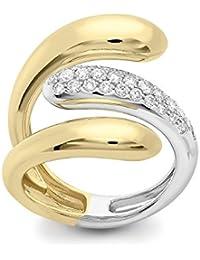 Roberto Marroni Damen-Ring Bicolor 18 k (750) Diamant Weiß Rundschliff - Größe 56 (17.8)