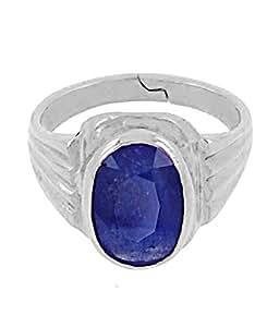 JAIPUR GEMSTONE Pure Blue SAPPHIRE 7.25 Ratti Silver Metal Ring - Certified Stone