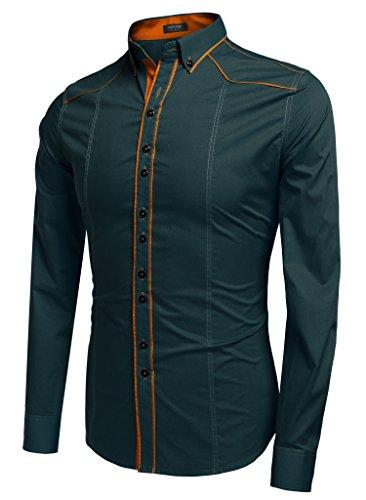 CRAVOG Mode Chemise Homme Mince Contrast Manches Longues / Shirts Cintrée Boutonné Patchwork Décontracté Vert