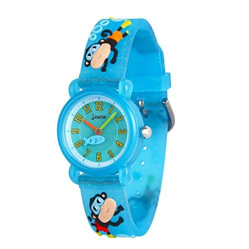 WOLFTEETH Kinder und Jugendliche Uhr Analog Quarz mit Plastik Armband 308403 Blau AFFE