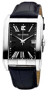Ted Lapidus - 5113603 - Montre Homme - Quartz Analogique - Cadran Noir - Bracelet Cuir Noir