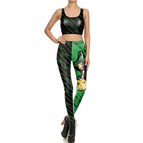JSUMING Halloween-Kürbis-Zauberhafte Hexe Digital Printing Yoga Sets 2 Stück Outfits Leggings Sport-BH Workout Sets,Grün,L