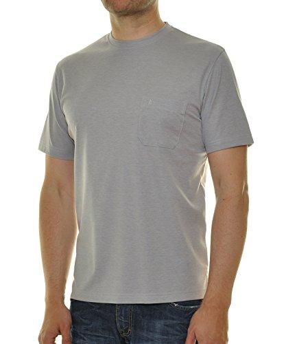 RAGMAN Herren RAGMAN T-Shirt Softknit uni, Pflegeleicht Silbergrau-021