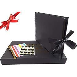 Album Photo Scrapbooking 30,5 x 20,3 cm, Collection de Photos avec ruban noir, 60 pages à faire soi-même, 30 feuilles de papier pour Anniversaire, Mariage livre d'or, Aventure, Album Rétro (Noir)