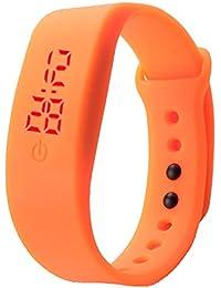 Sannysis® Goma Reloj LED Fecha Deportes pulsera; Digital reloj de pulsera (Naranja)