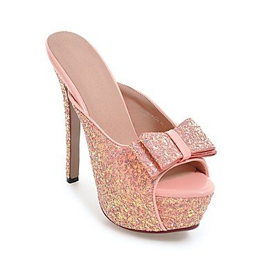 LFNLYX Donna tacchi Primavera Estate Autunno Slingback similpelle Abito casual Party & Sera Stiletto Heel Bowknot SequinBlack rosa in oro bianco Silver