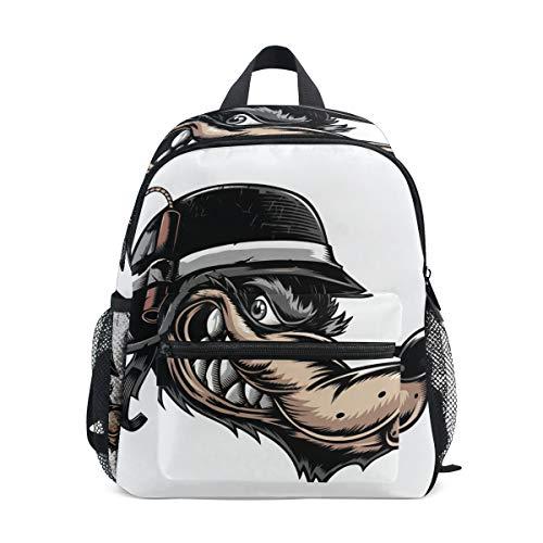säcke Wolf mit Helm Schultasche Büchertasche Daypack ()