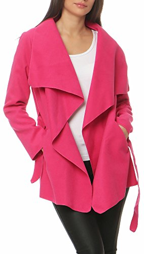 Malito Damen Mantel kurz mit Wasserfall-Schnitt | Trenchcoat mit Gürtel | weicher Dufflecoat | Parka - Jacke 3041 (pink)