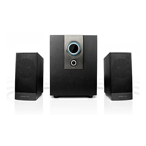 Speedlink Aktives 2.1 Subwoofer System - AVENZA 2.1 Lautsprechersystem 3,5mm (optimale Multimedia-Eignung für Spiele und Filme - Frequenzgang von 50Hz bis 20kHz - Slim Design) für Computer / Laptop schwarz