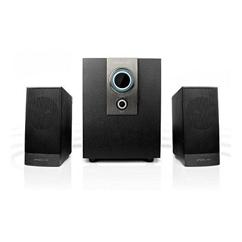 Speedlink Aktives 2.1 Subwoofer System - AVENZA 2.1 Lautsprechersystem 3,5mm (optimale Multimedia-Eignung für Spiele und Filme - Frequenzgang von 50Hz bis 20kHz - Slim Design) für Computer / Laptop schwarz Bass-box Slim