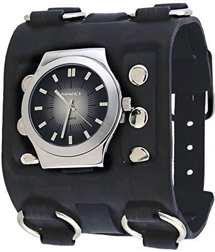 Nemesis #FWB331K Men's Charcoal Black Super Wide Leather Band Gradient Black Dial Watch