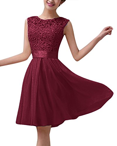 ZANZEA Damen Spitze Ärmellos Party Club Kurz Slim Abend Brautkleid Cocktail Ballkleid Weinrot EU 36/US 4