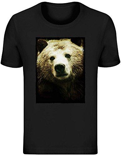 Bären Custom Schwarz T-shirt (Bär Schönheit - Bear Beauty T-Shirt Jersey Top for Men - 100% Soft Cotton - High Quality DTG Printing - Custom Printed Mens Clothing Large)