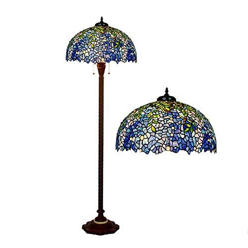 YDYG 20-Zoll-Tiffany-Stil-Bodenlampe, Europäische Retro-Glas-Art-Deco-Wohnzimmerboden Uplighter, Stehendes Licht
