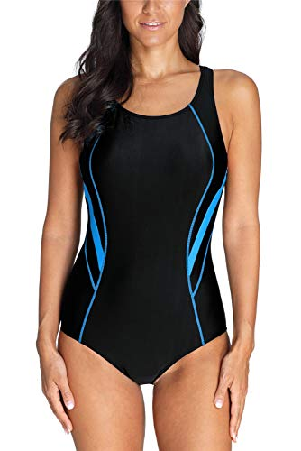 Charmo Damen Sportlich Training Einteiler Bademode Kontrastfarbe Badeanzug Racerback Athletic Schwimmanzug L (Badeanzug Athletic Einteiler)