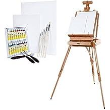 Artina XXL Madrid - Caballete de pintura maletín de madera de haya - Con set de colores acrílicos - El regalo perfecto