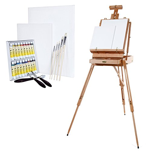 Artina Boite Mallette chevalet Madrid XXL + ensemble de tubes peinture acrylique + 5 pinceaux + 2 Toiles + Palette - En bois de hêtre
