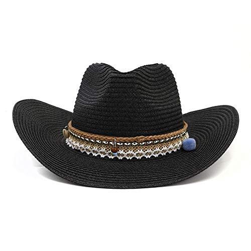 side Outdoor Sonnenhut Elegante Dame mit Kleid Womens Girl Cowboy Sonnenhut Kopf Umfang Einstellbar Hut (Color : Black) ()