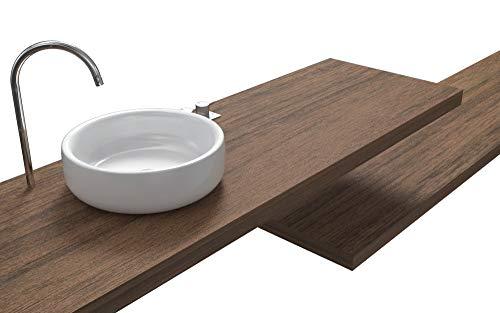 Ve.ca-italy mensole lavabo su misura 100% made in italy resistenti all'acqua incluse staffe a scomparsa in 6 diverse finiture (160x40x8 cm, noce)