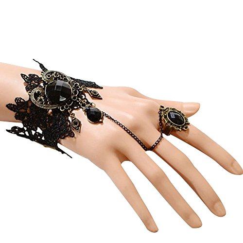 Vintage Damen Armbänder Kostüme Zubehör Armschmuck Bracelet mit Ring für Charme Wedding Kleid Prom Party (Schwarz) (Kostüm Charme Armbänder)