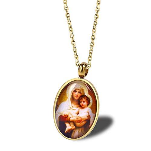 AYBB Edelstahl Jungfrau Maria und Baby Jesus Anhänger Halskette Christian Religious Schmuck für Männer, Frauen,Gold