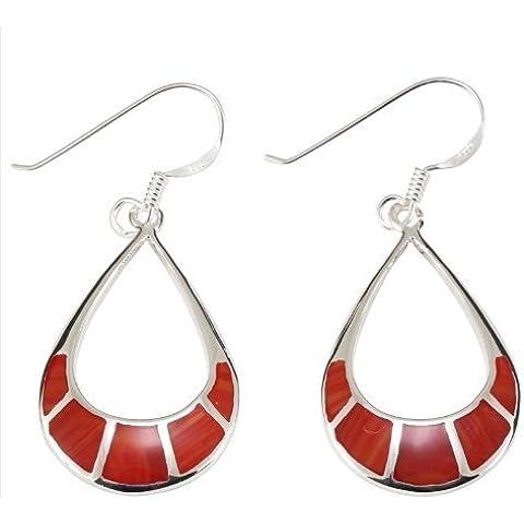 DTPsilver - Coral rojo - pendientes en plata de ley 925 en forma de lágrima