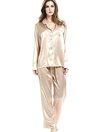 ROSEHUI Women Satin Pajamas Set Long Sleeve Button Down Sleepwear with Pants  S-XXL 481cc7be9