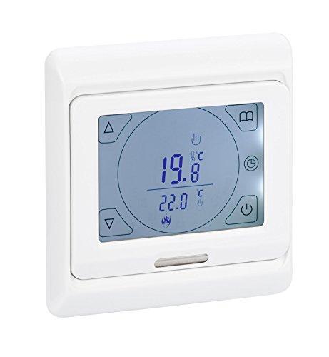 5/1/1-programm Digital Thermostat (Digital Raumthermostat DRT-TS mit Touchscreen für elektrische Heizungen, Fußbodenheizung, Programmierbares Wandthermostat Unterputz 230V mit Tages/Wochenprogramm von imowell)