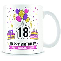 18th Birthday Mug for Women and Men - Birthday Party Design - Personalised Age 18 Birthday Gift