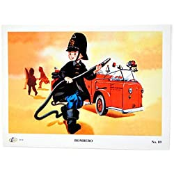 Fantastik - Poster mexicano vintage profesiones mini:: bombero (Dimensiones 18 x 24 cm)