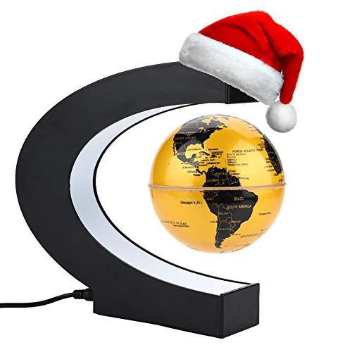 Globo Flotante de Levitación Magnética, Globo de Antigravedad C- Forma, Mapa de Mundial Rotativo Con LED, Para Decoración de Hogar y Oficina y Regalo de Creativo y Educacion de Geografia(Dorado)