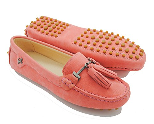 Minitoo JD568–3 Mocassini da donna con nappa in camoscio Leather-Pink
