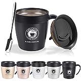 NUOSEM 330ML Thermobecher, Coffee to Go Becher mit BPA-frei Deckel, Griff und Kleine Kaffeelöffel, Doppelwand Isolierung, Edelstahl Trinkbecher für Tee Kaffee Cocktails Bier Schwarz