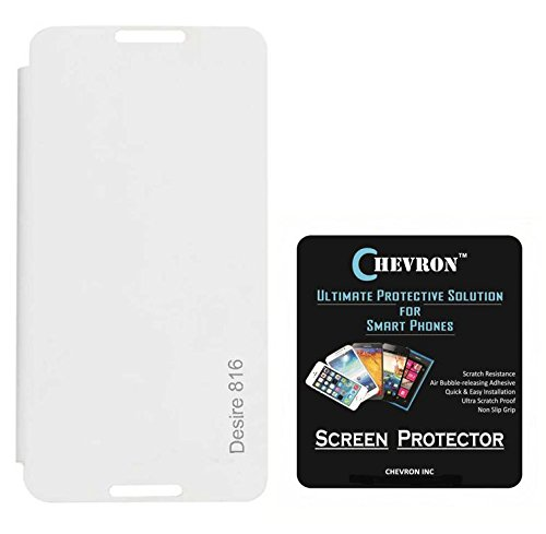 Chevron Flip Cover For HTC Desire 816G With Chevron HD Screen Guard (White)